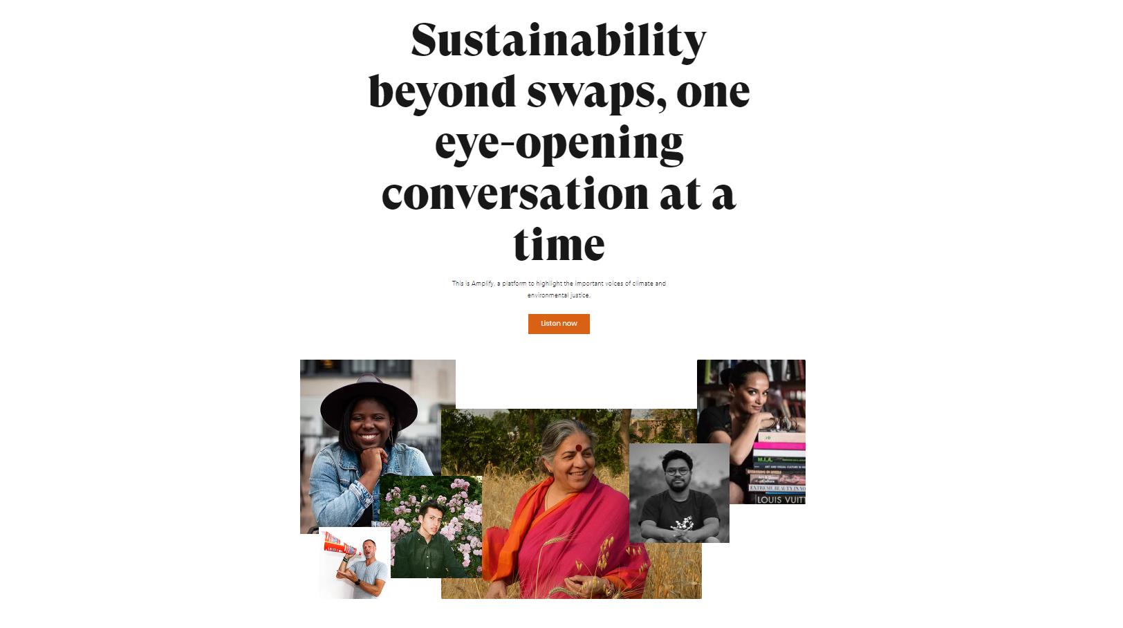 The image is from the Amplify website and says: Sustainability beyond swaps, one eye-opening conversation at a time