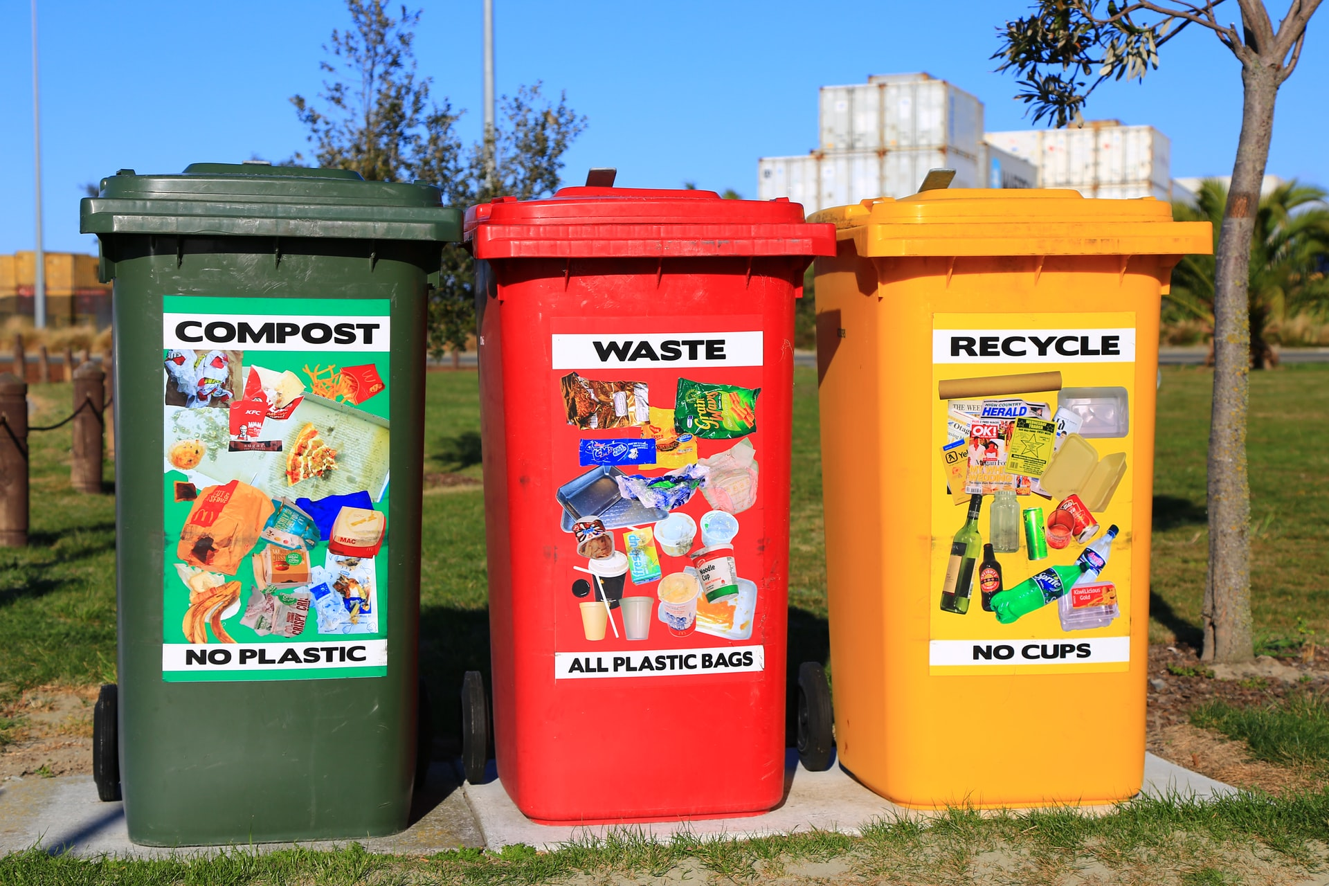 Three waste Baskets in green, red and yellow.